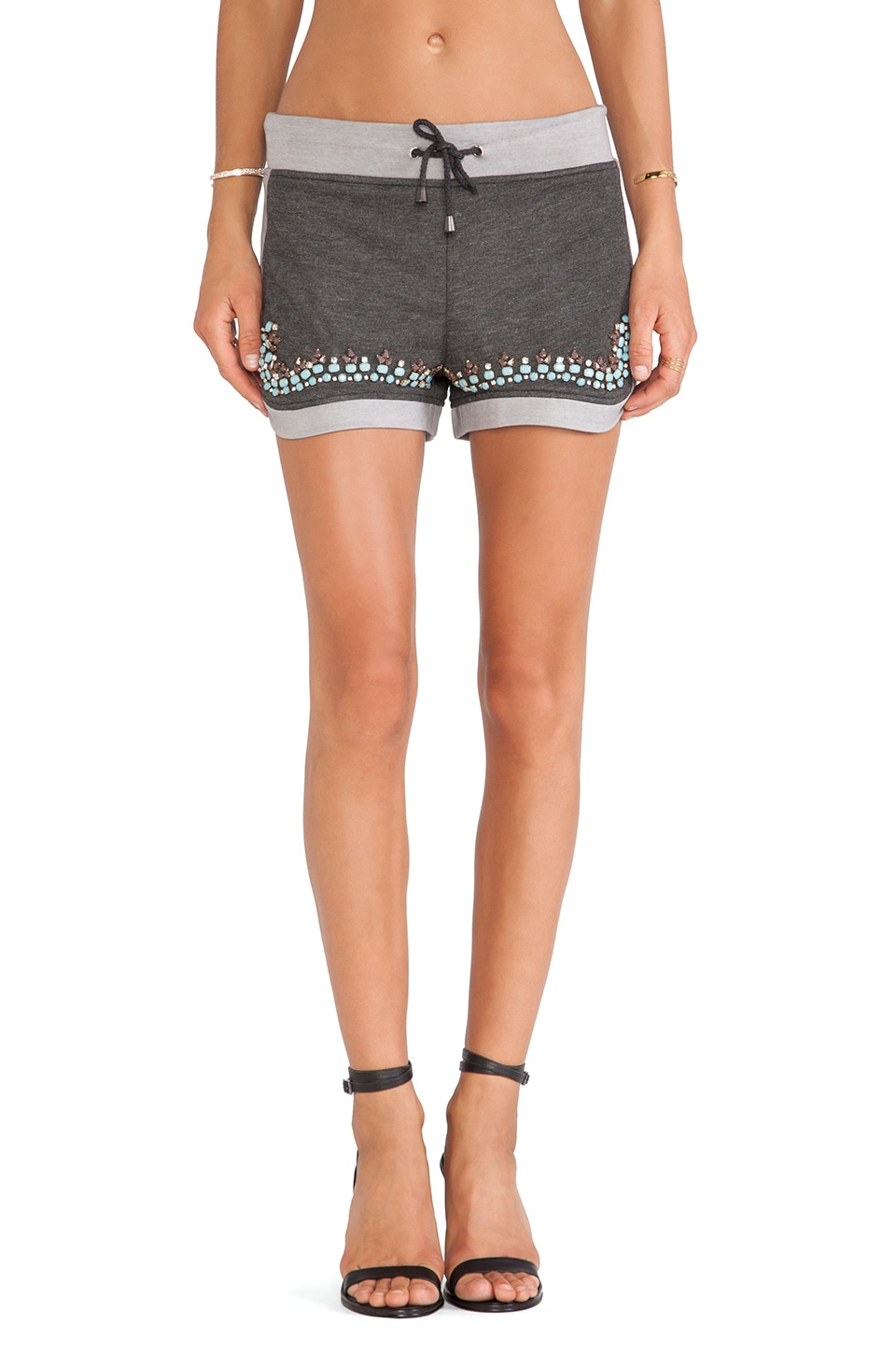 HEMANT AND NANDITA Crystal Sweatshort in Dark Grey