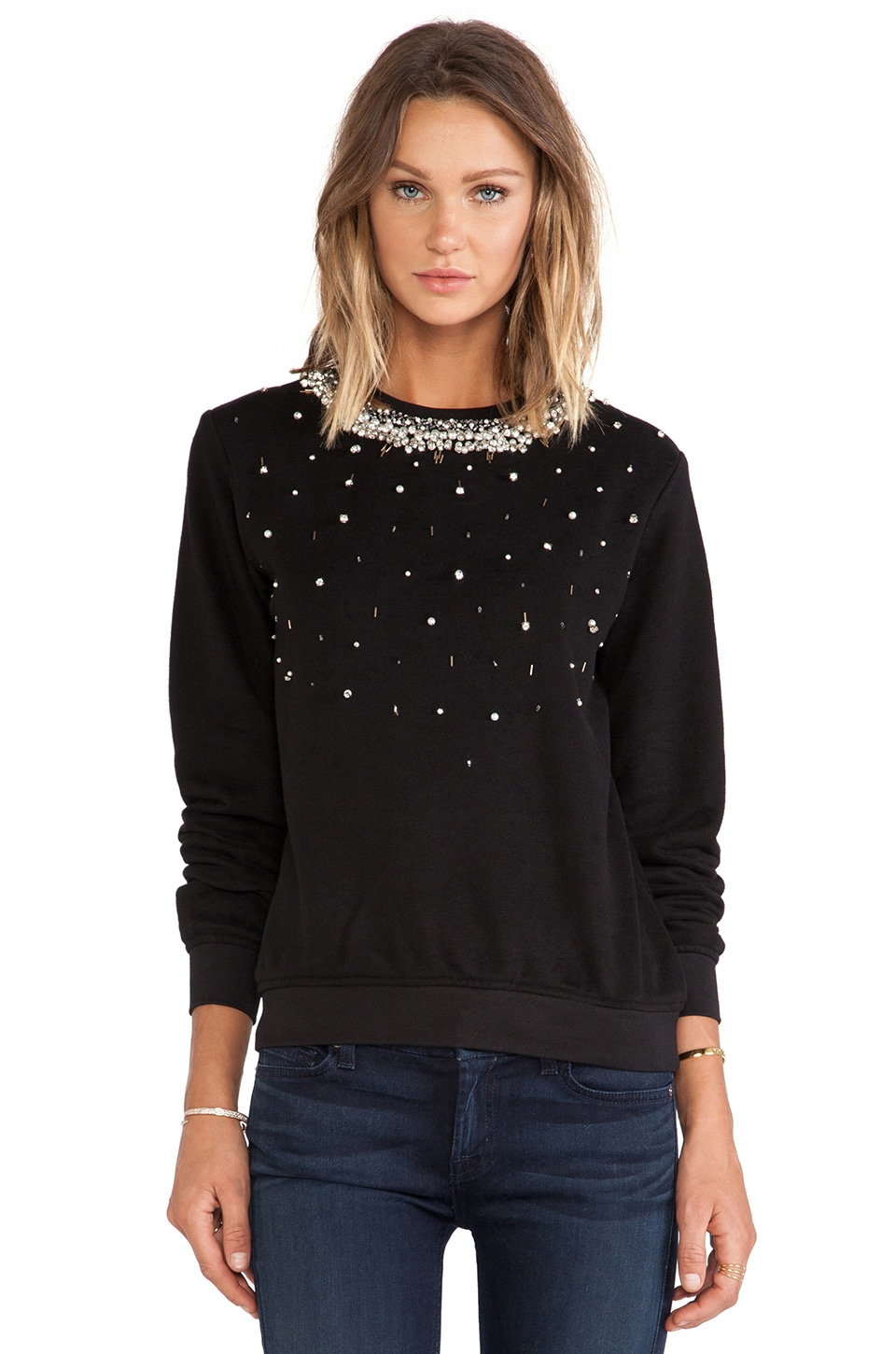 HEMANT AND NANDITA Pop Melange Sweatshirt in Ivory & Black