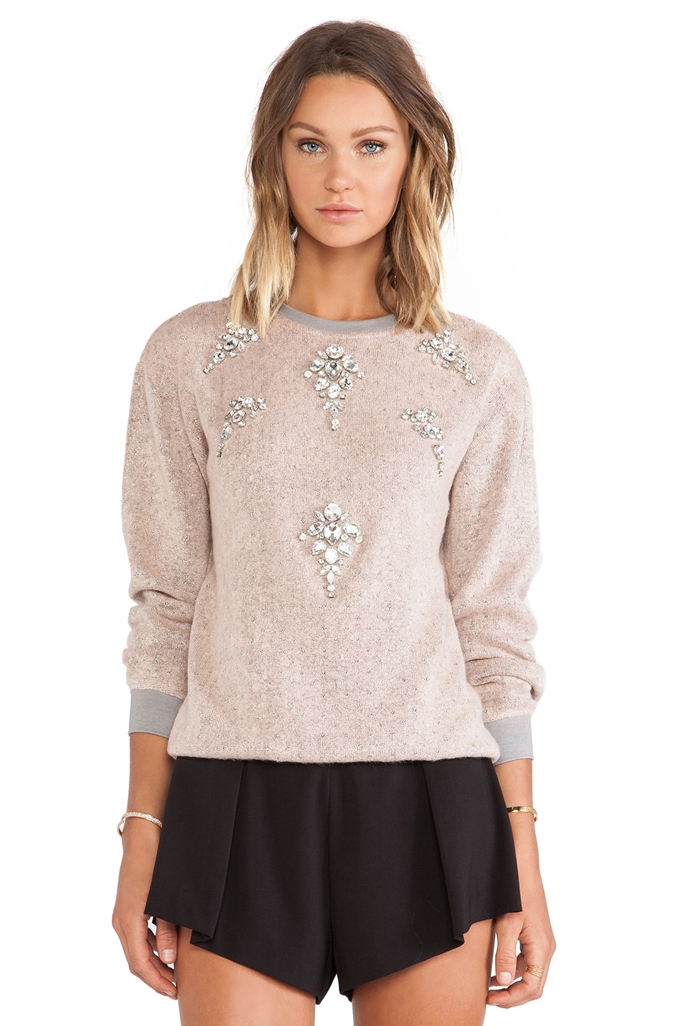 HEMANT AND NANDITA Pop Melange Woolen Sweatshirt in Pink & Grey