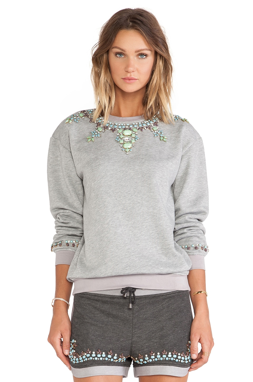 HEMANT AND NANDITA Crystal Sweatshirt in Light Grey