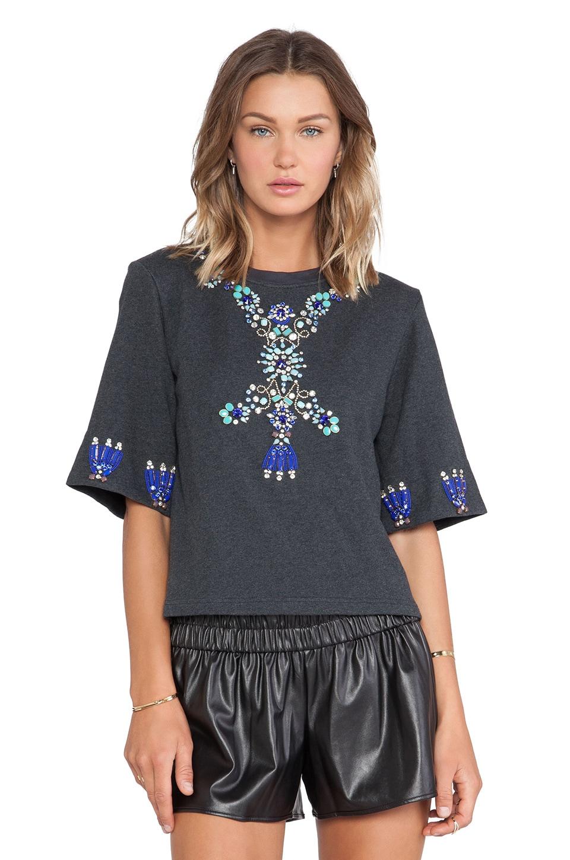 HEMANT AND NANDITA Crystal Short Sleeve Sweatshirt in Dark Grey