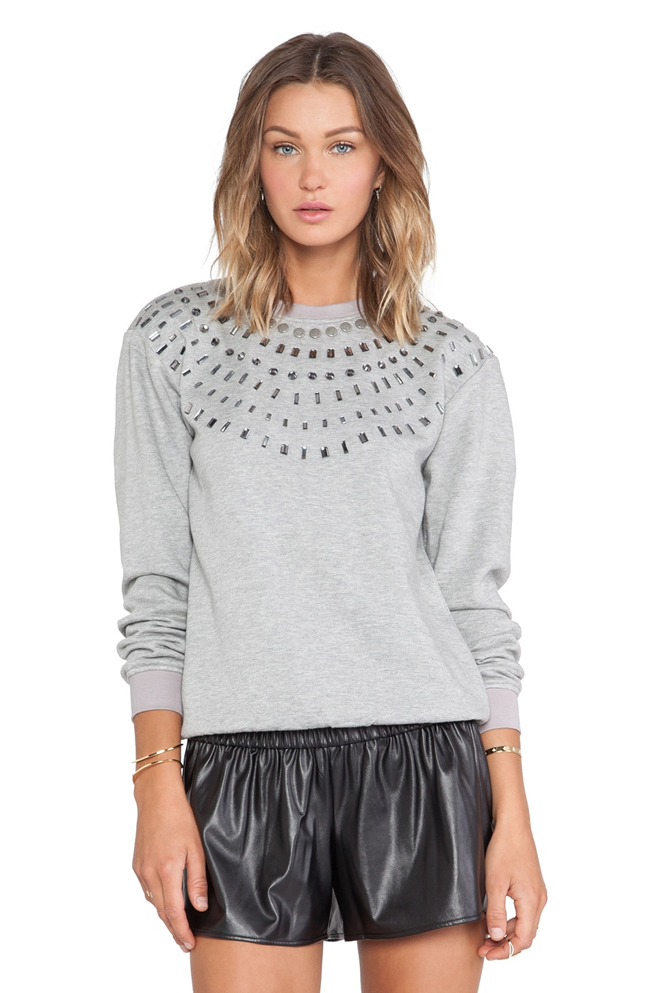 HEMANT AND NANDITA Crystal Sweatshirt in Light Grey