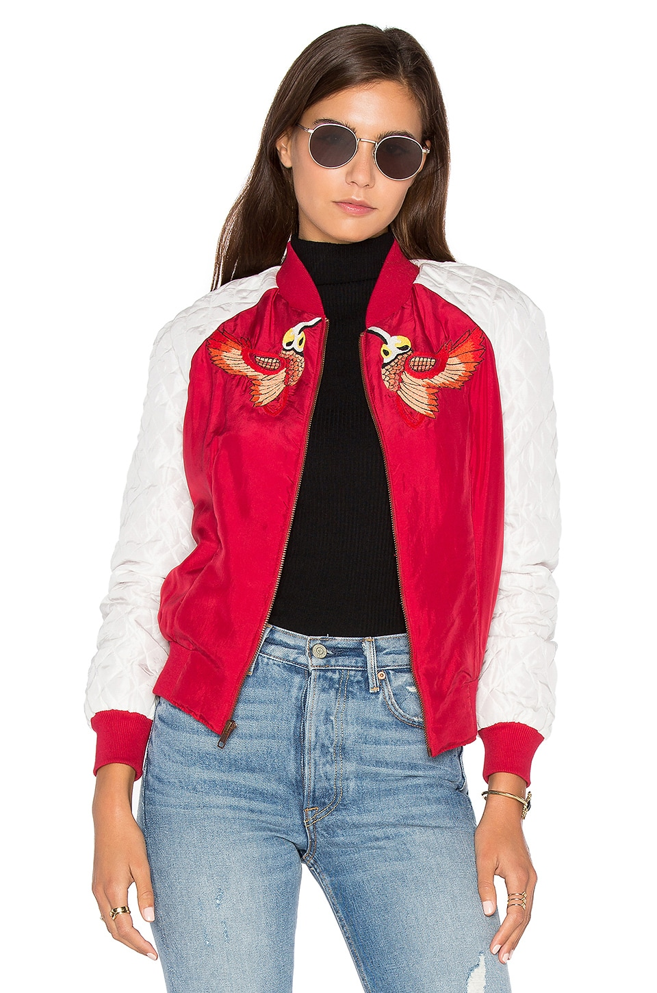 HEMANT AND NANDITA Bird Bomber Jacket in Red Chinese Floral