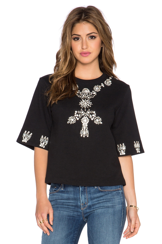 HEMANT AND NANDITA Crystal Short Sleeve Sweatshirt in Black & Diamond