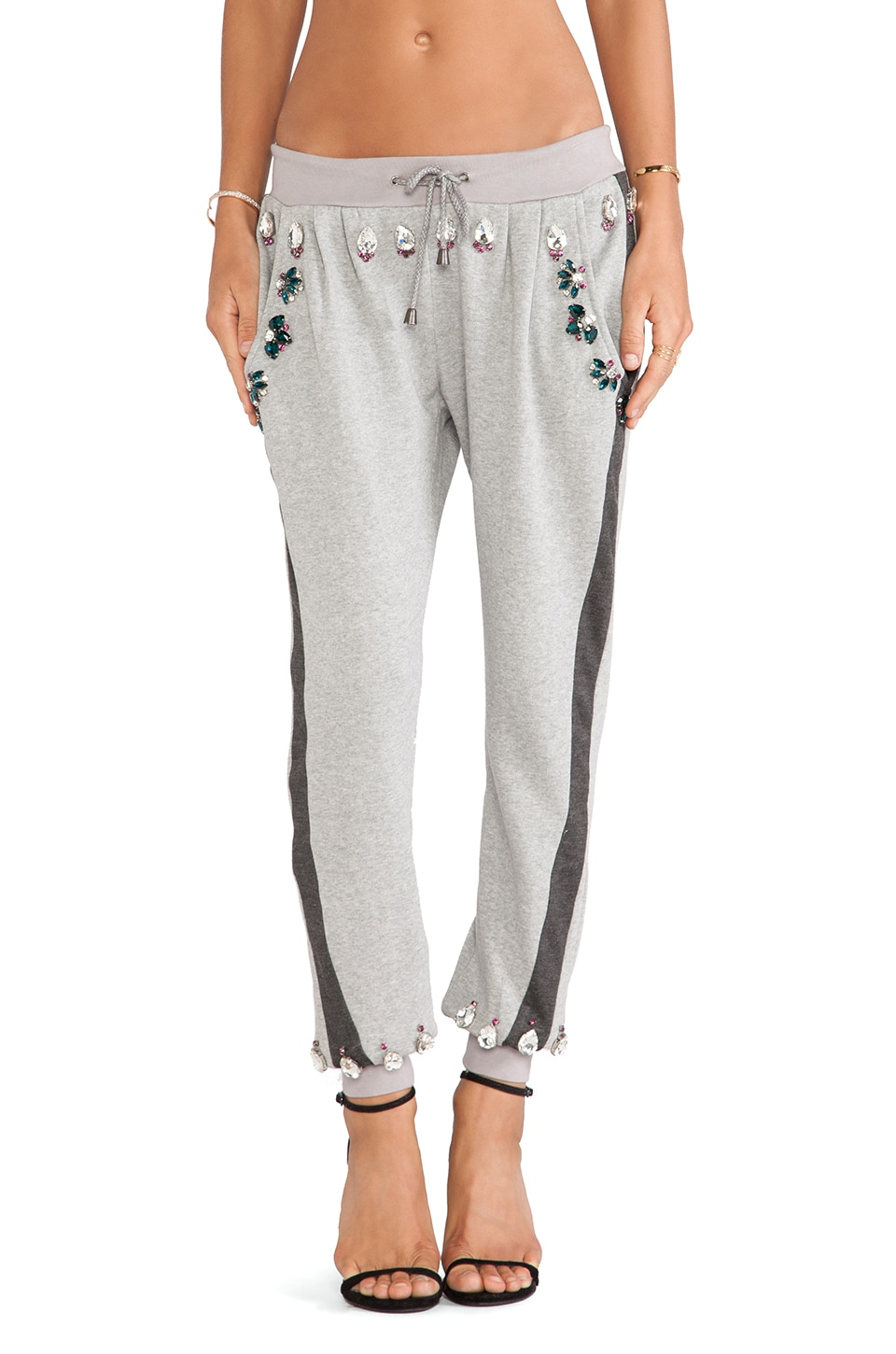 HEMANT AND NANDITA Crystal Sweatpant in Light & Dark Grey