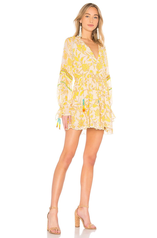 HEMANT AND NANDITA Clarion Mini Dress in Blue & Yellow