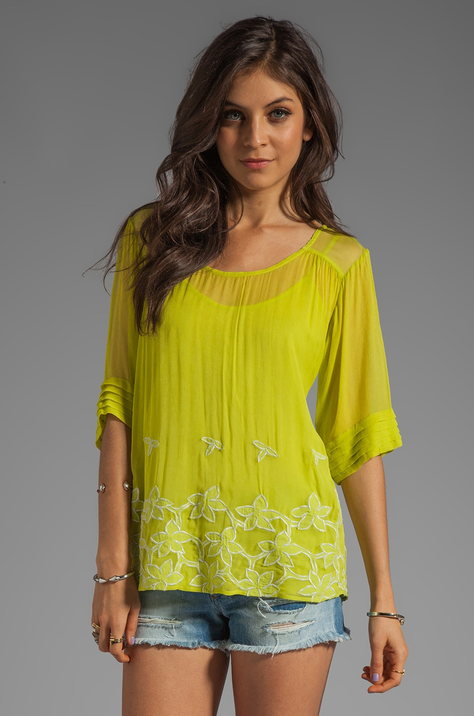 Beyond Vintage Short Sleeve Embroidered Top in Chartreuse