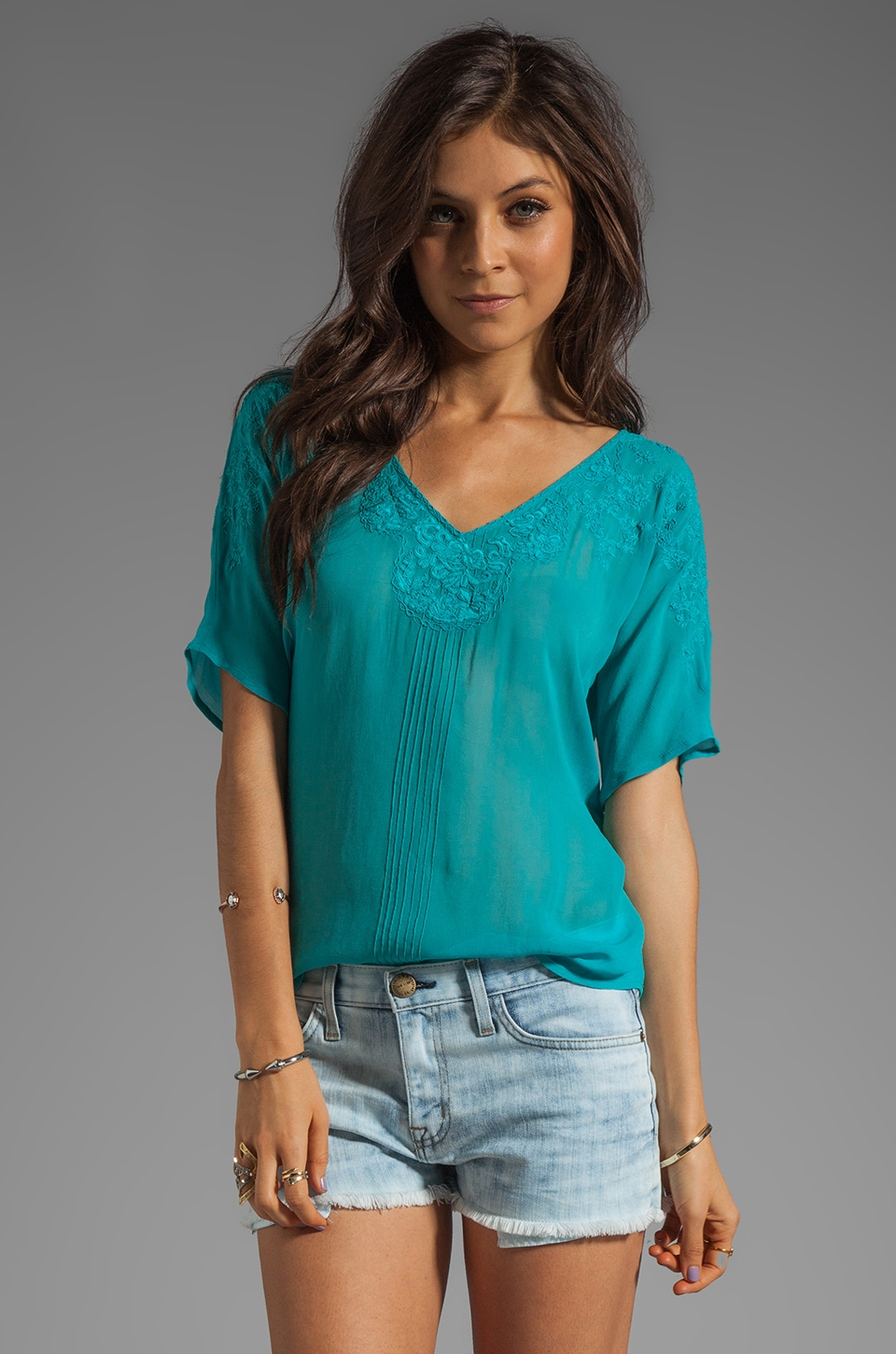 Beyond Vintage Top with Crescent Mesh Details in Turquoise