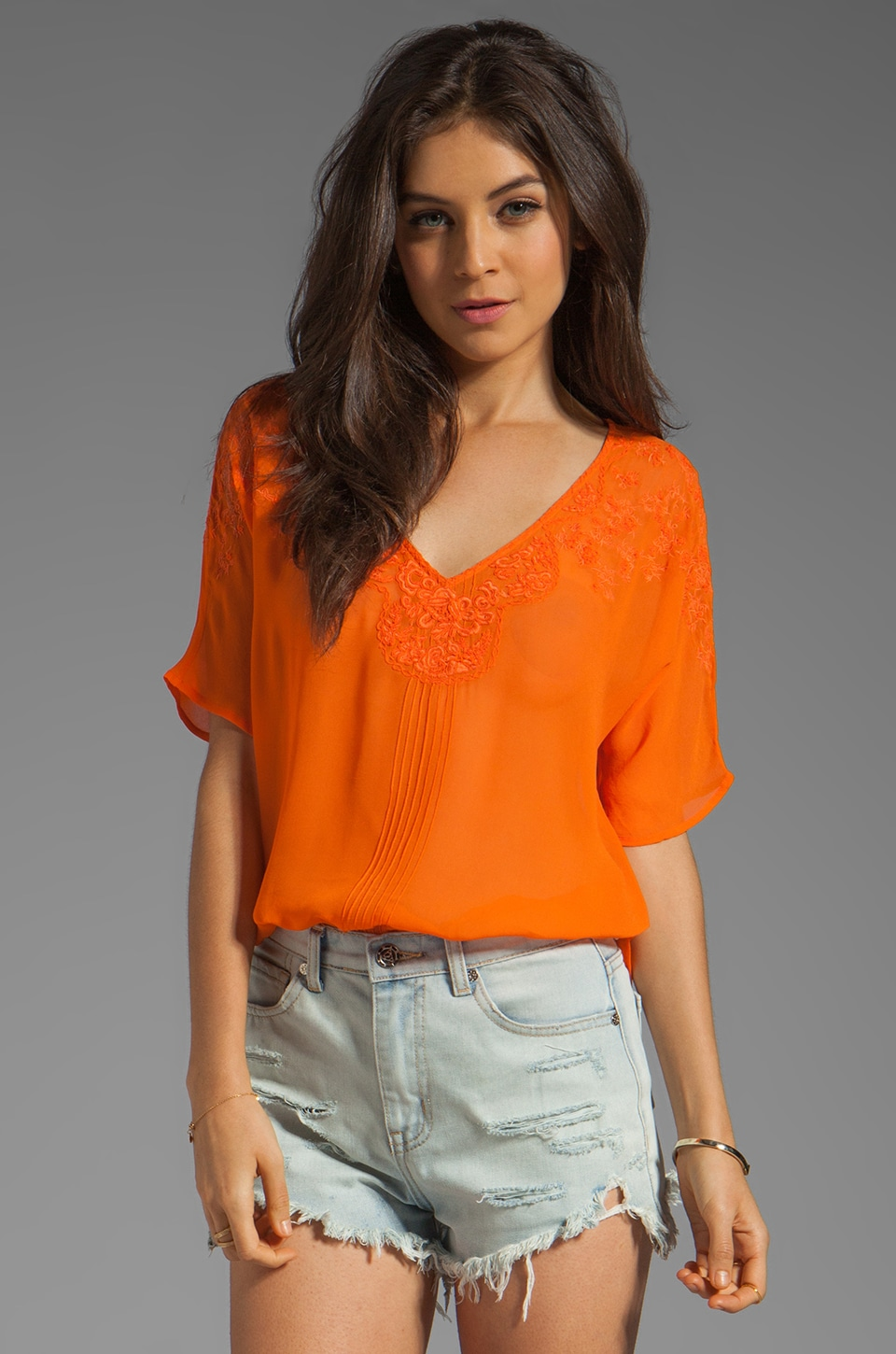 Beyond Vintage Short Sleeve Top with Crescent Mesh Detail in Solar
