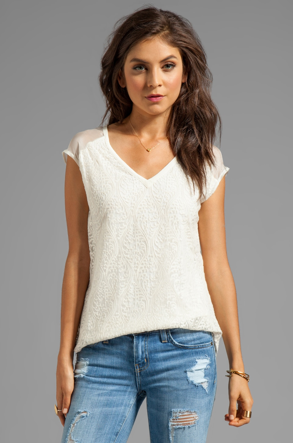Beyond Vintage Illusion Shoulder Top in White
