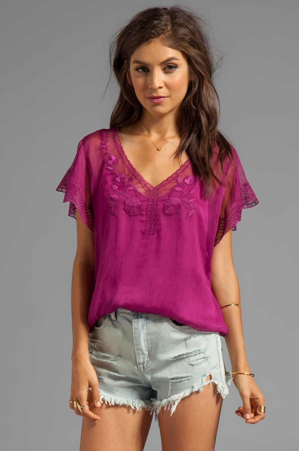 Beyond Vintage Floral Embroidered Top in Camellia