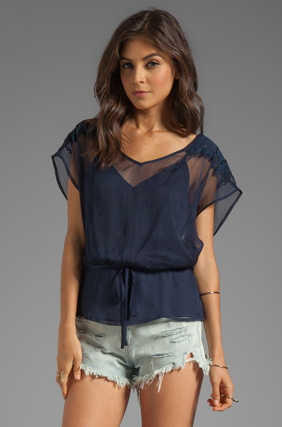 Beyond Vintage Lace Shoulder Blouse in Navy