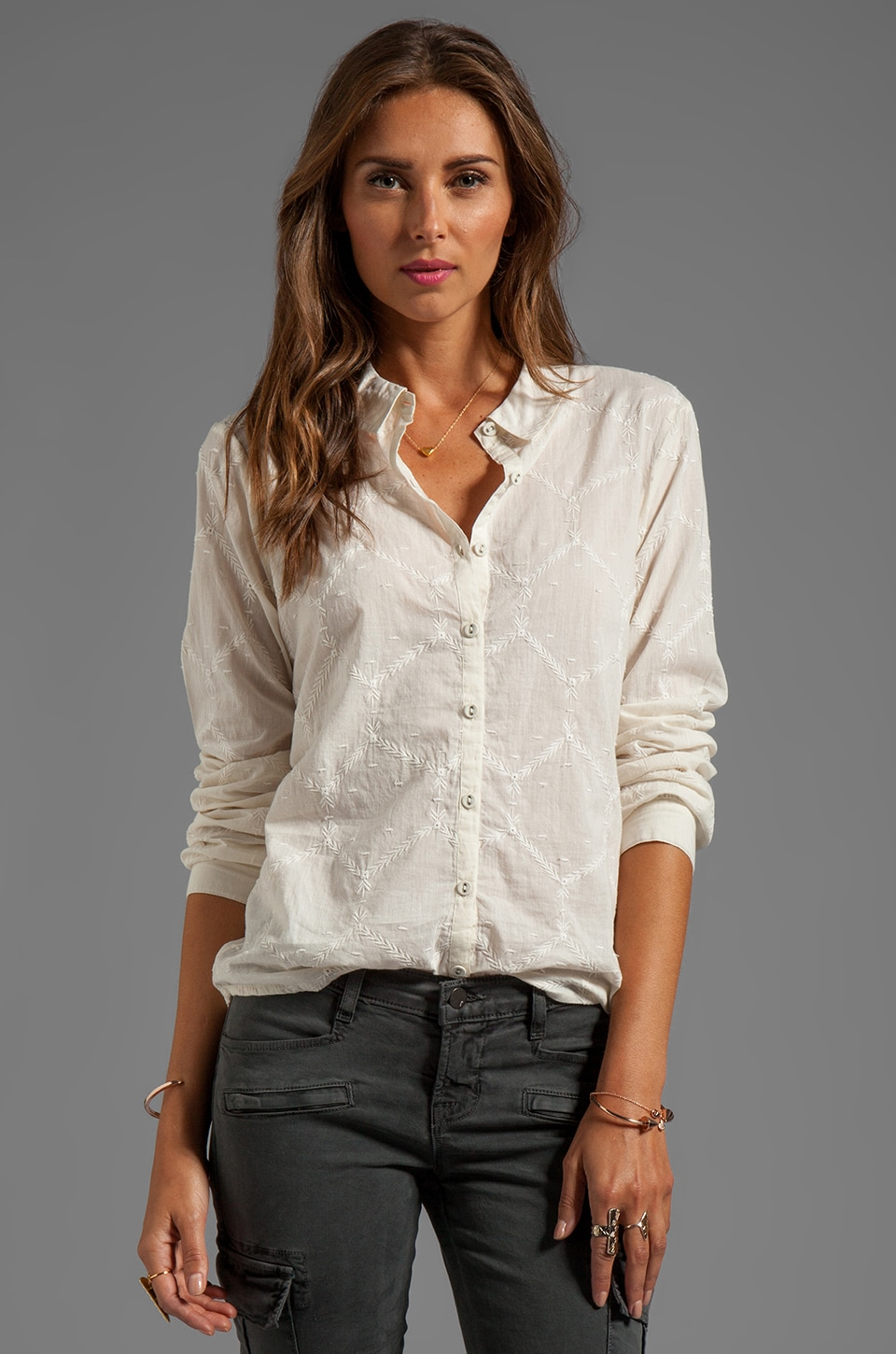 Beyond Vintage All Over Embroidered Blouse in Ivory