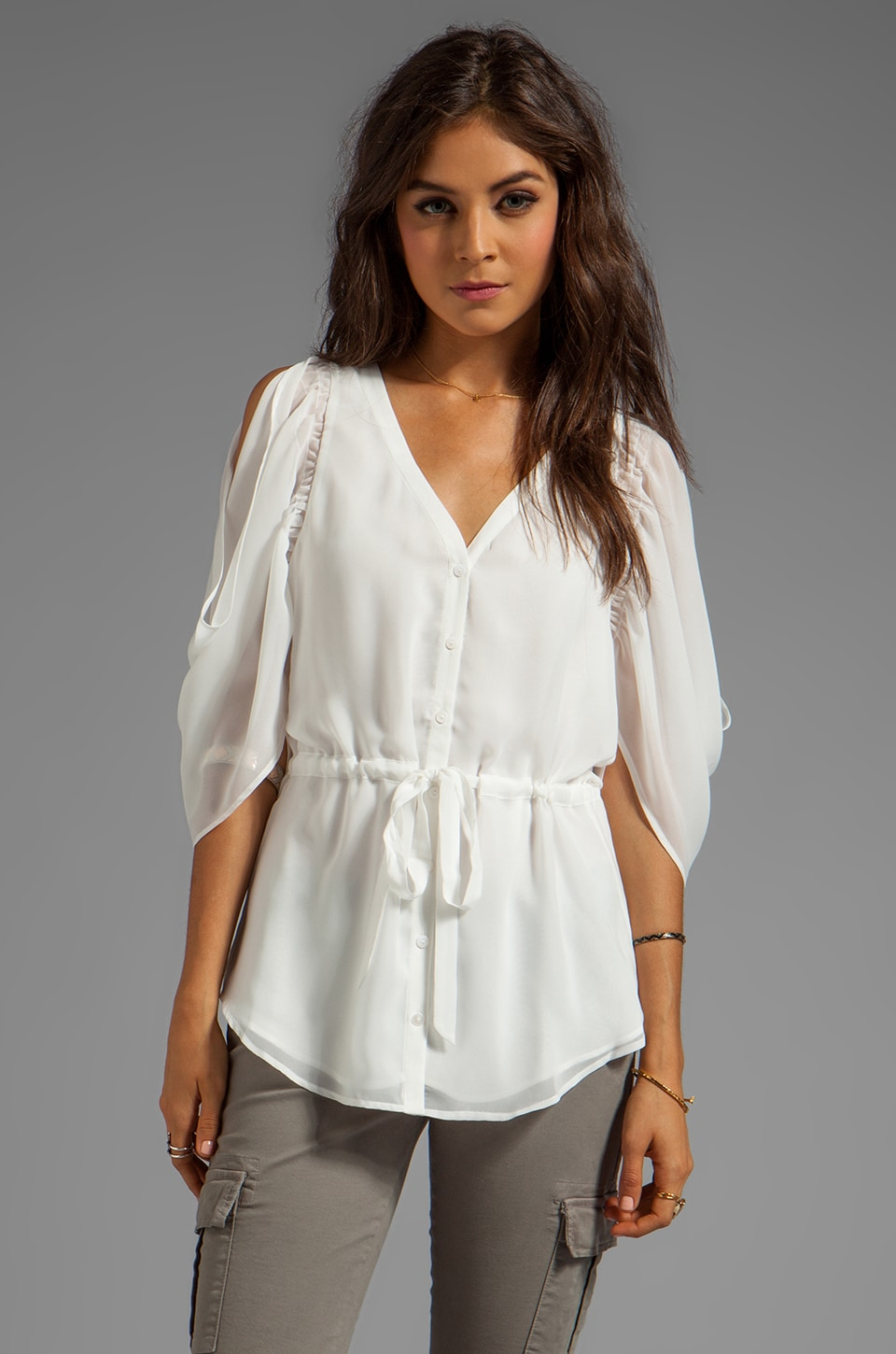 Beyond Vintage Jules Cold Shoulder Top in Ivory