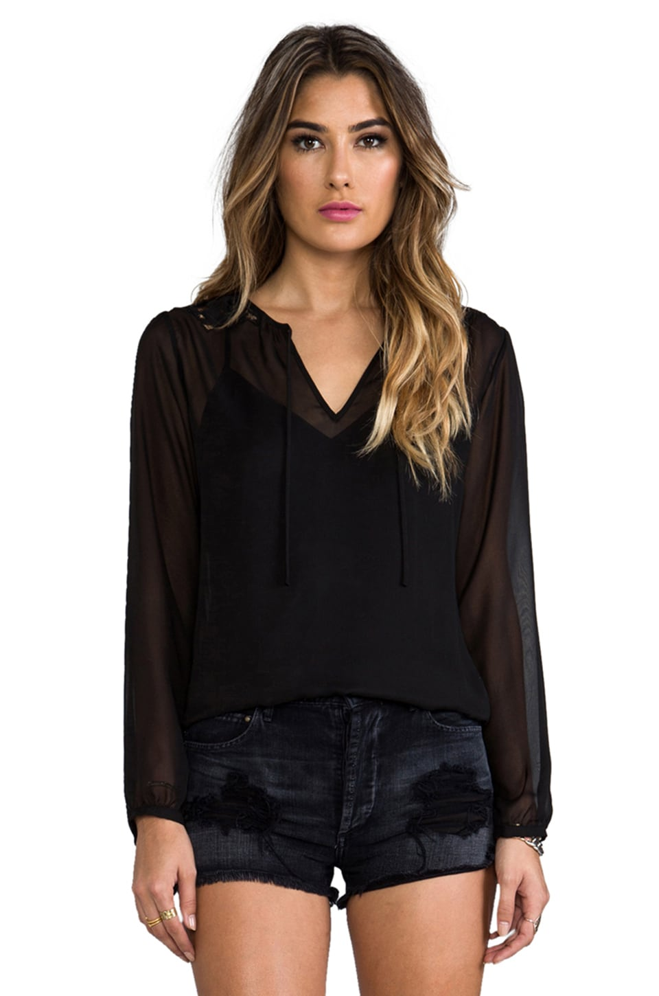 Beyond Vintage Long Sleeve Lace Top en Noir