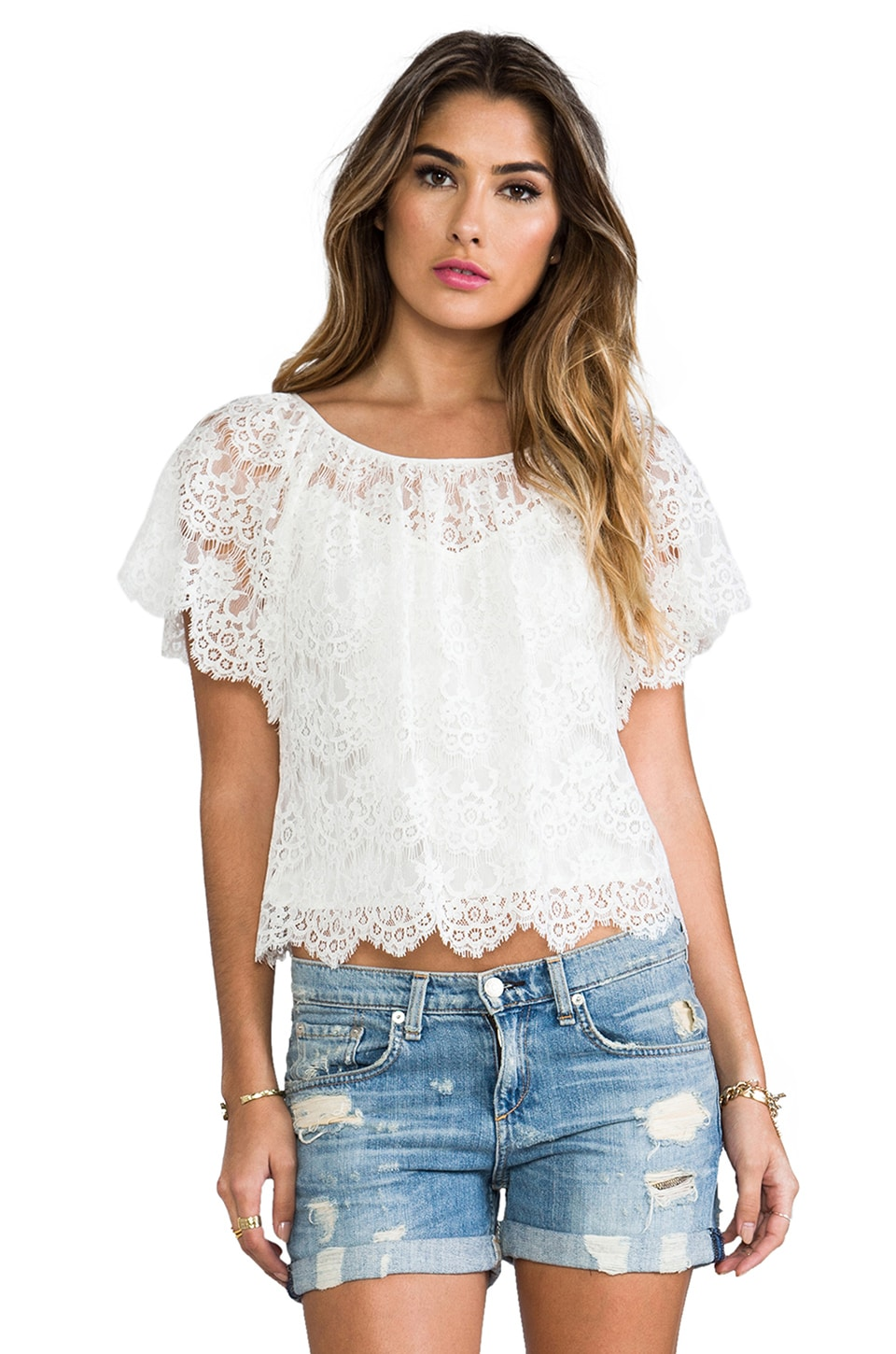 Beyond Vintage Lace Blouse in Ivory