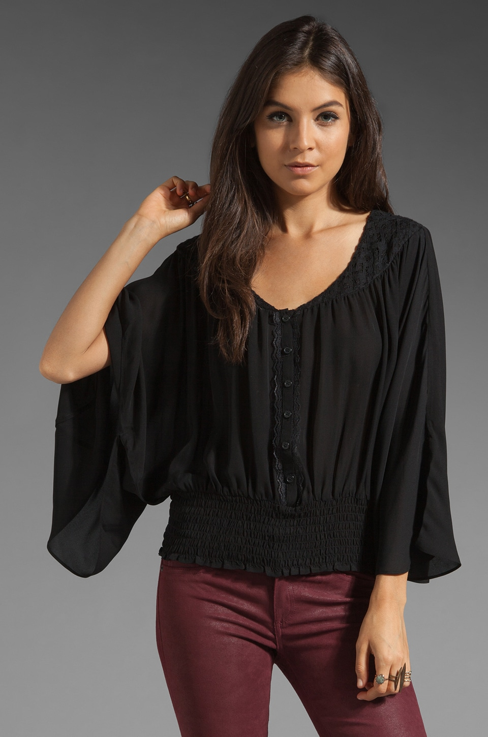 Beyond Vintage Beyond Silk Vintage Batwing Top with Lace in Black