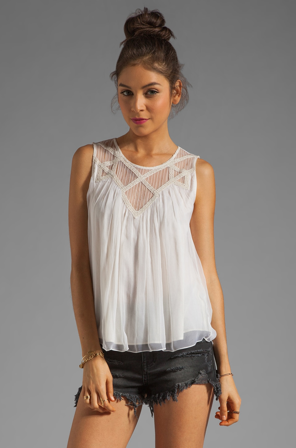 Beyond Vintage Yoke Tank in Ivory