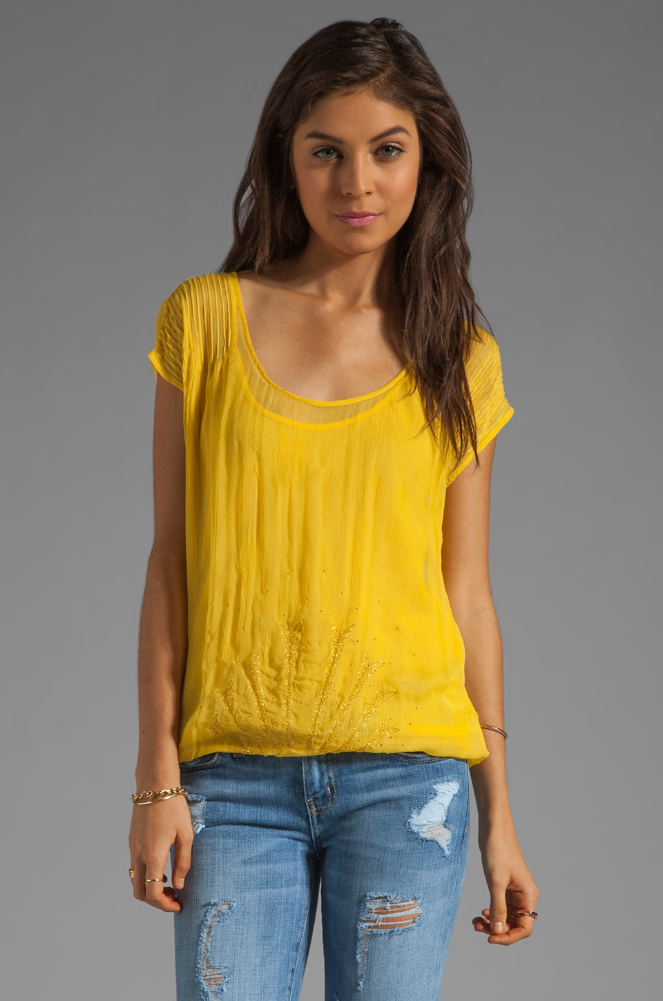 Beyond Vintage Embroidered Bubble Top in Daffodil