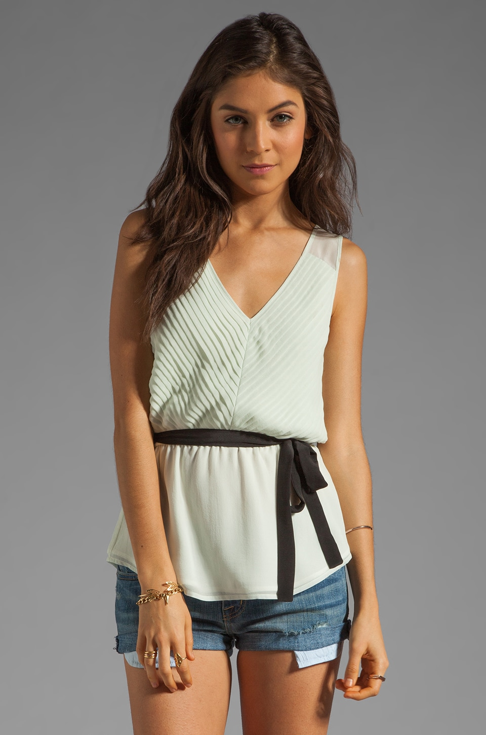 Beyond Vintage Pleated Tank in Mint