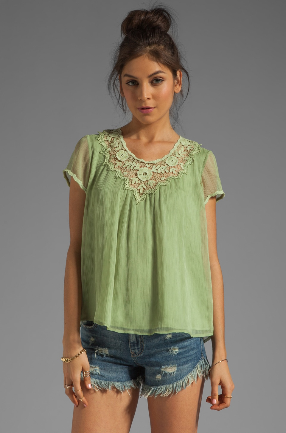 Beyond Vintage Floral Crochet Yoke Top in Pistachio