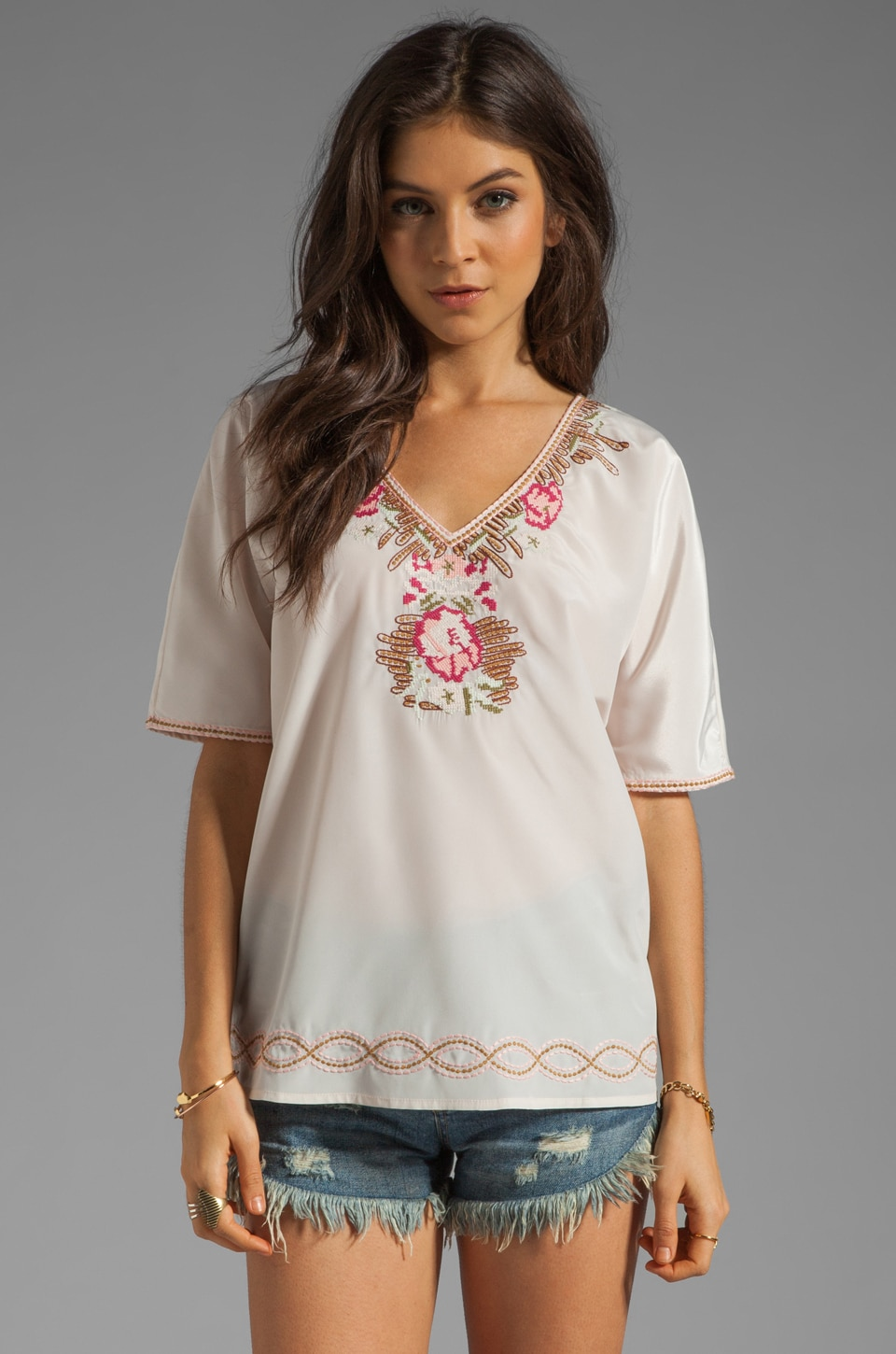 Beyond Vintage V-Neck Embroidered Top in Sabola