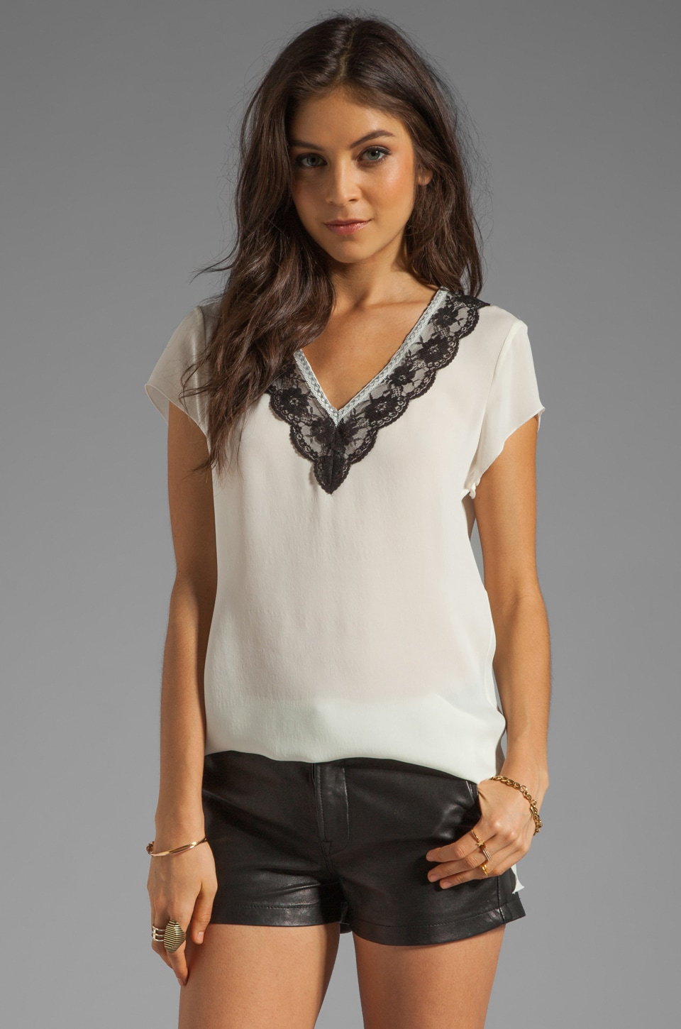 Beyond Vintage Silk Lace Trim V Neck T-Shirt in Ivory