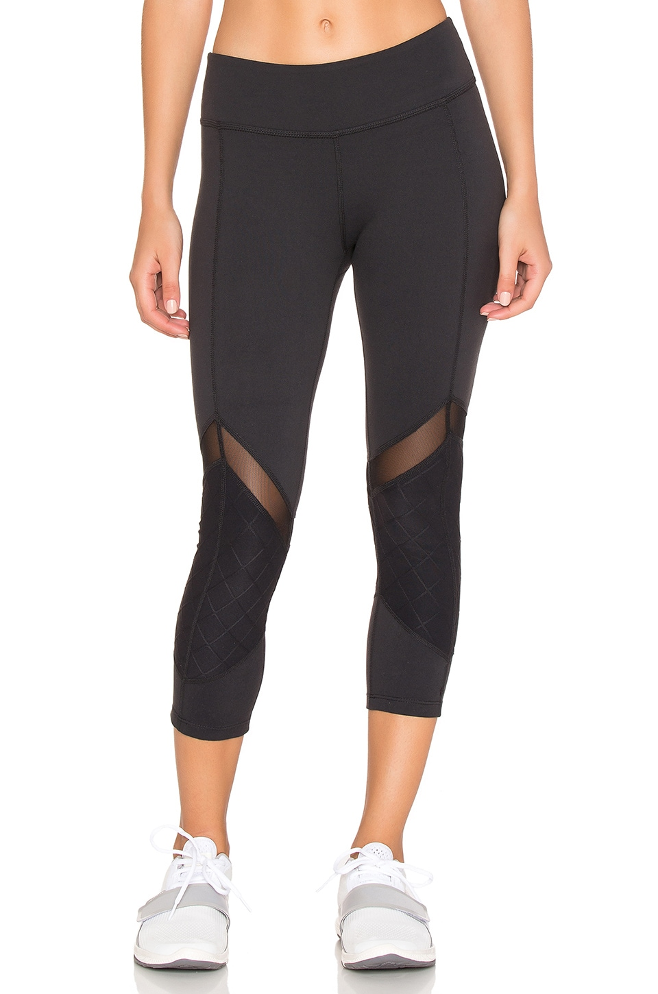 Beyond Yoga Quilted Arrow Mesh Capri Legging in Black