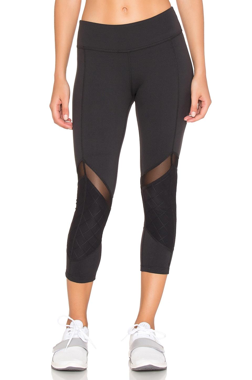 Beyond Yoga Quilted Arrow Mesh Capri Legging in Black