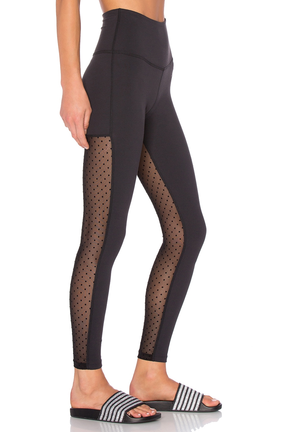 Beyond Yoga Polka Dot Mesh Back Long Legging in Black | REVOLVE