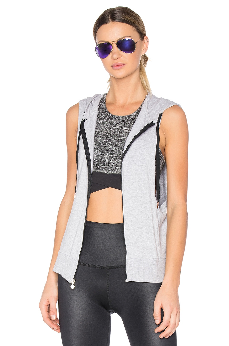Beyond Yoga Vest Behavior Hoodie in Heather Gray