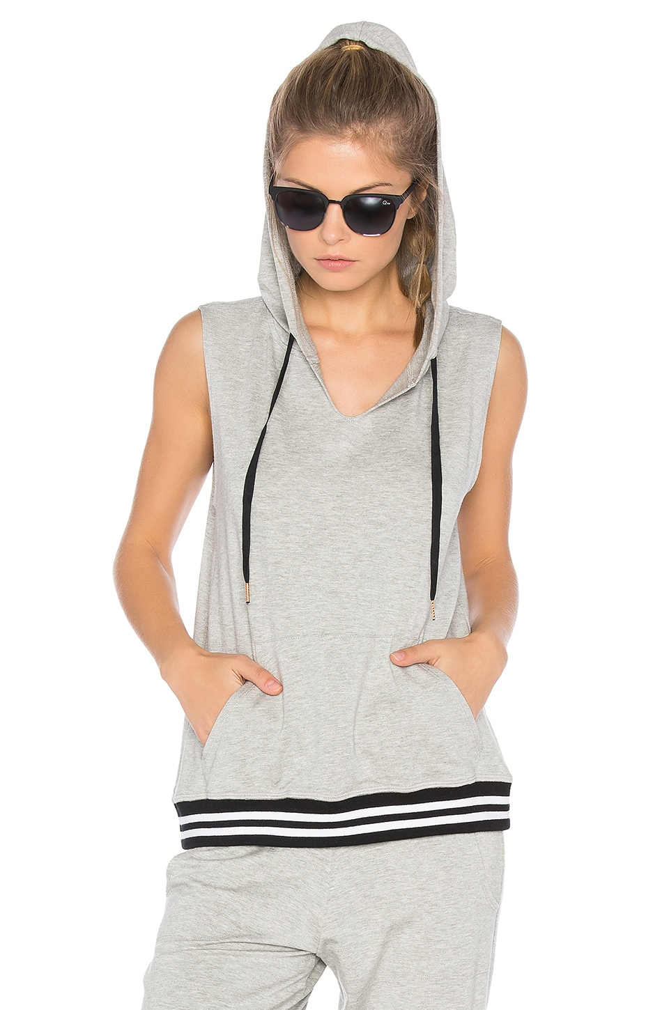 Beyond Yoga Varsity Muscle Hoodie in Light Heather Grey