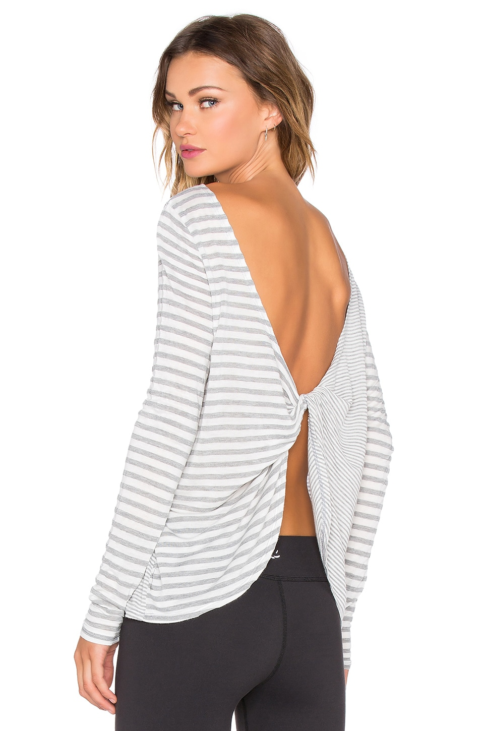 Beyond Yoga Sailing Stripe Scooped & Looped Tee in Heather Grey & White