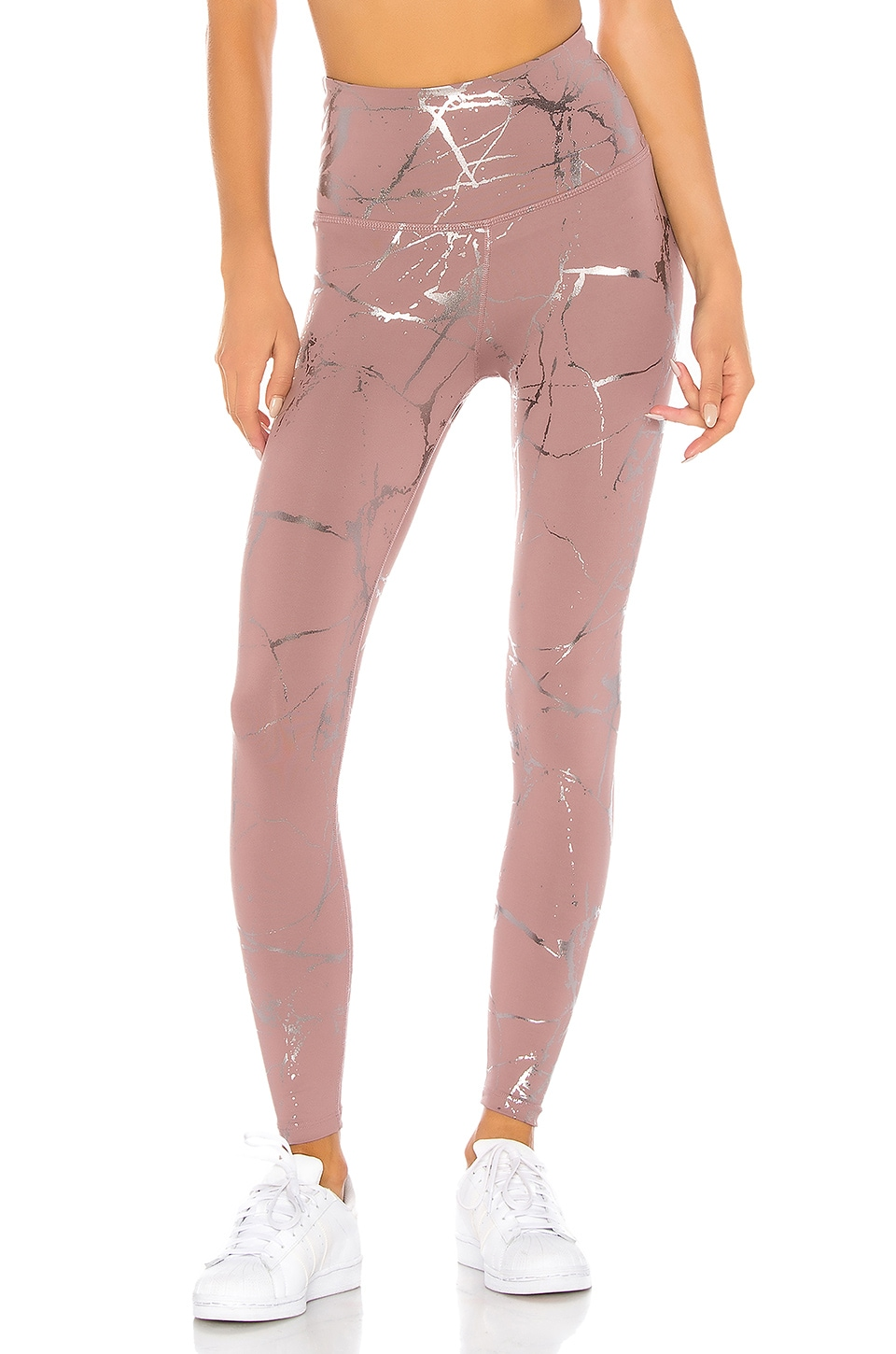 Beyond Yoga Lost Your Marbles High Waisted Midi Legging in Dusty Mauve & Shiny Gunmetal Marble