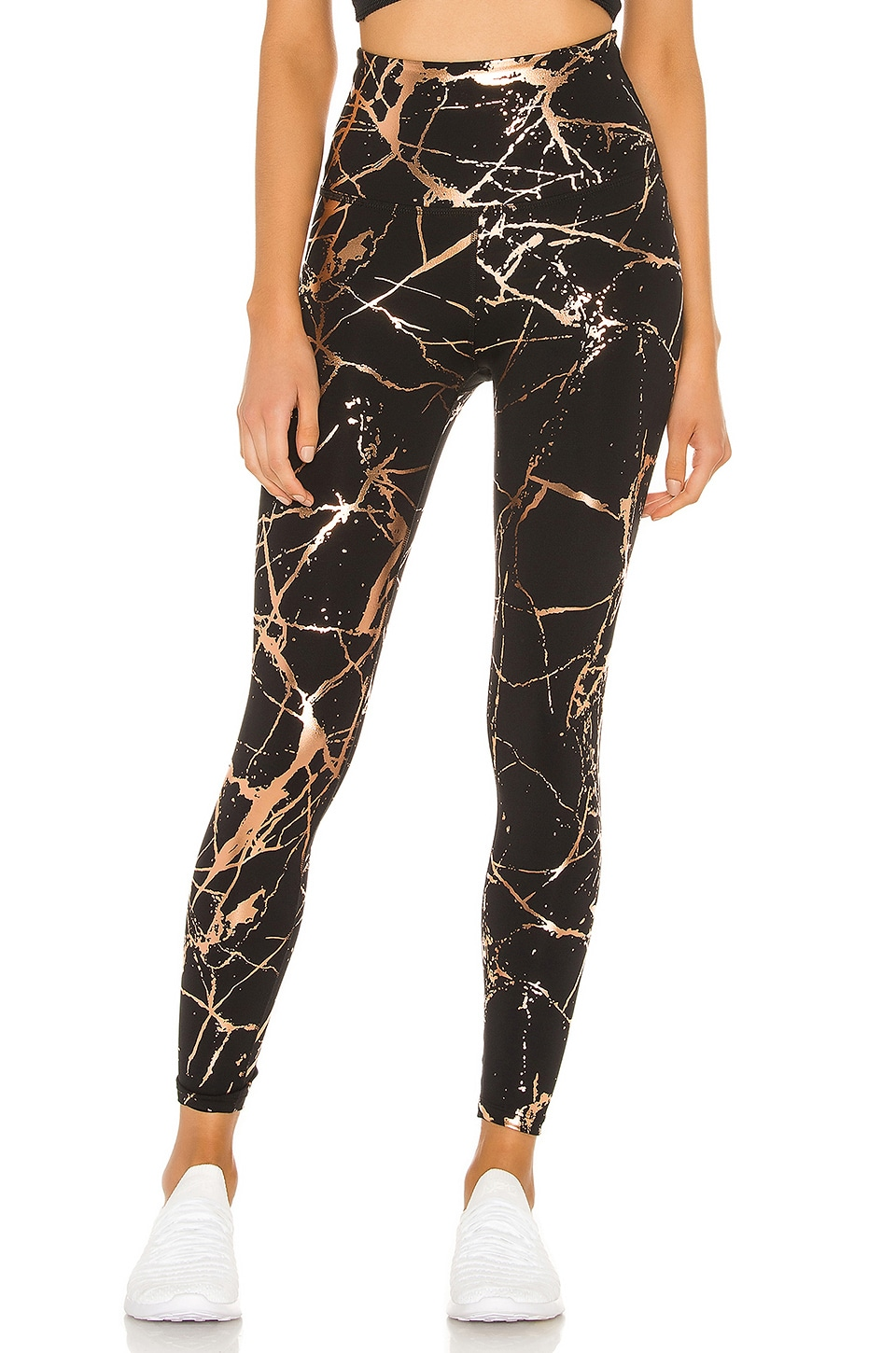 Beyond Yoga Lost Your Marbles High Waisted Midi Legging in Black Shiny & Rose Gold Marble