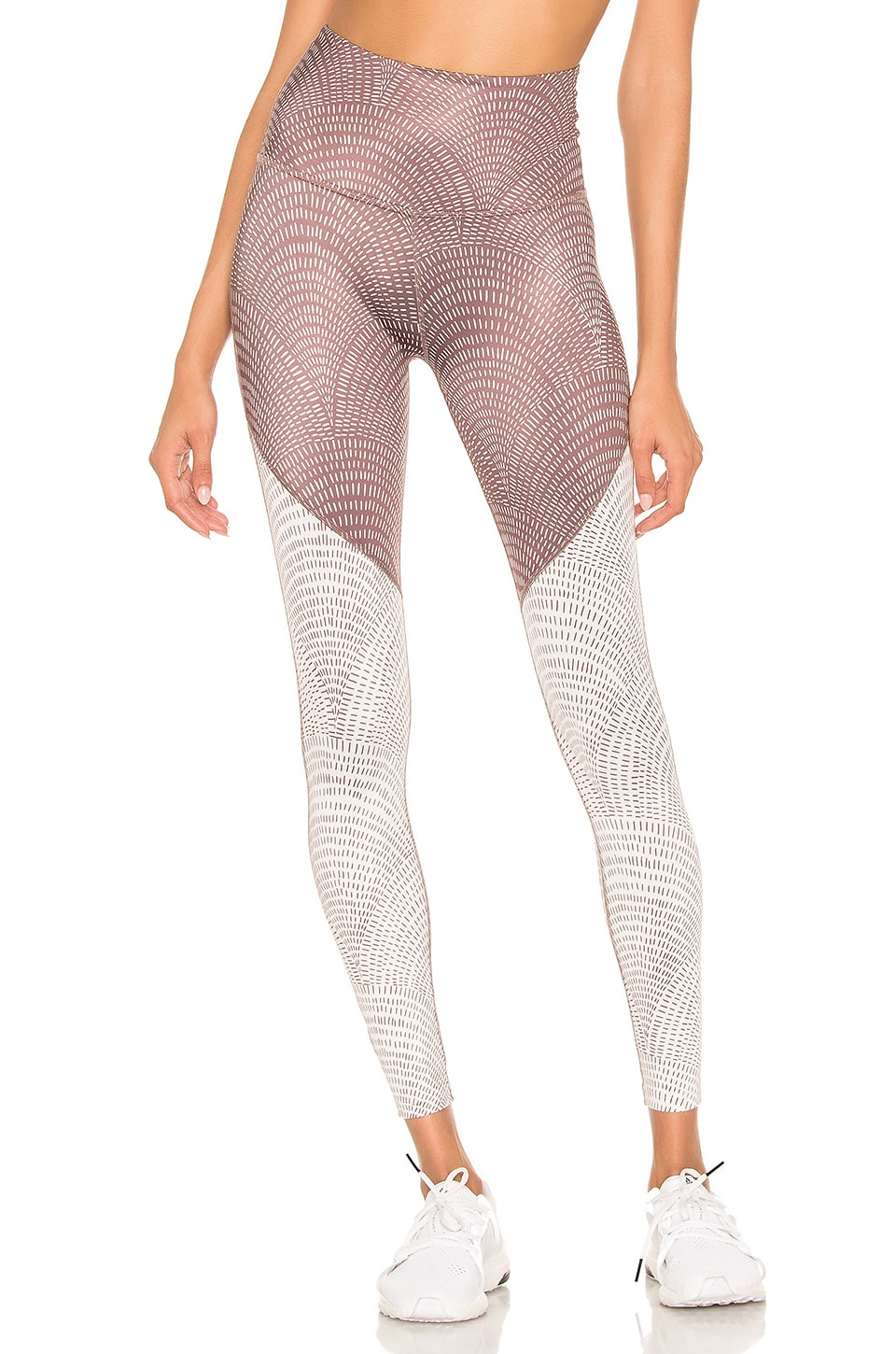 Beyond Yoga Lux High Waisted Angled Midi Legging in Etched Fans Blocked