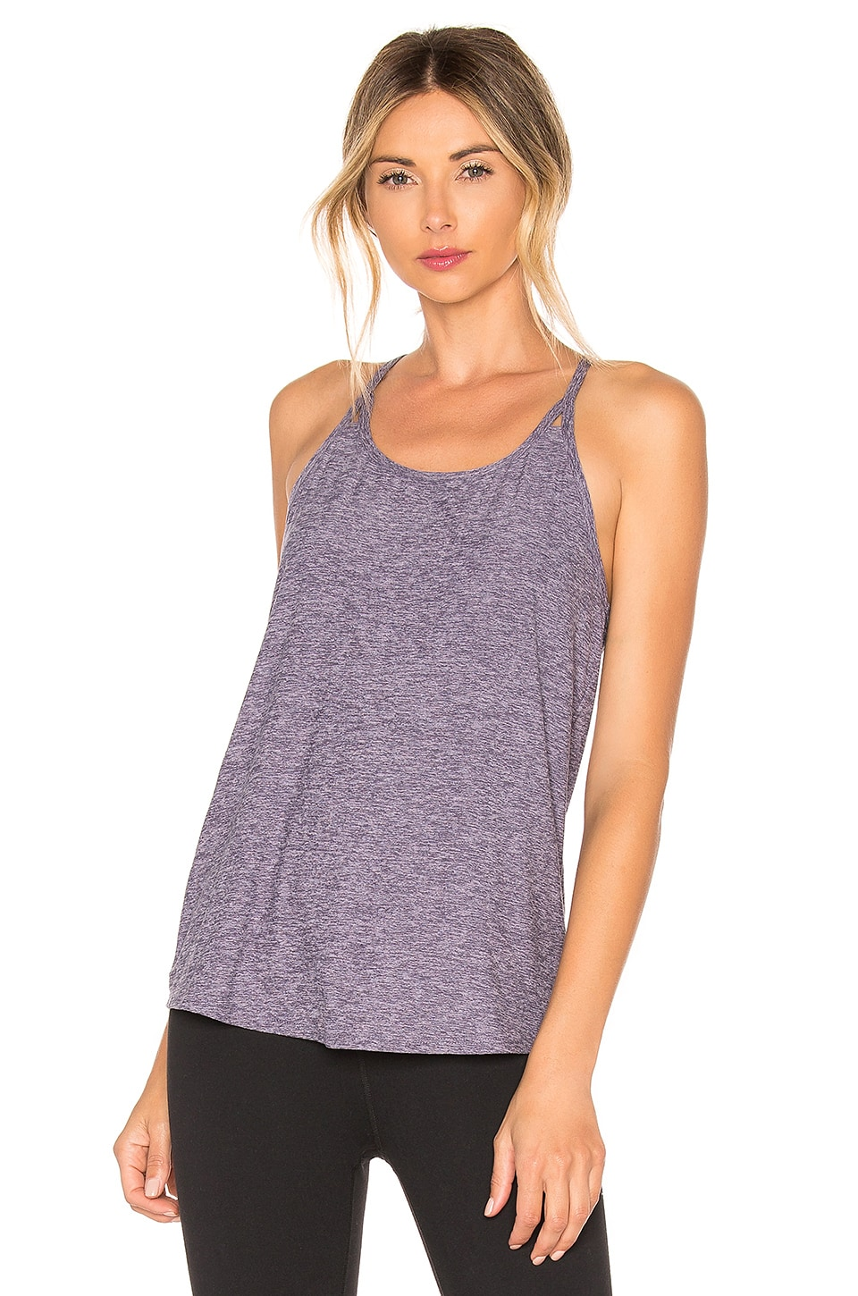 BEYOND YOGA BEYOND YOGA SPLIT OPEN TANK IN PURPLE.