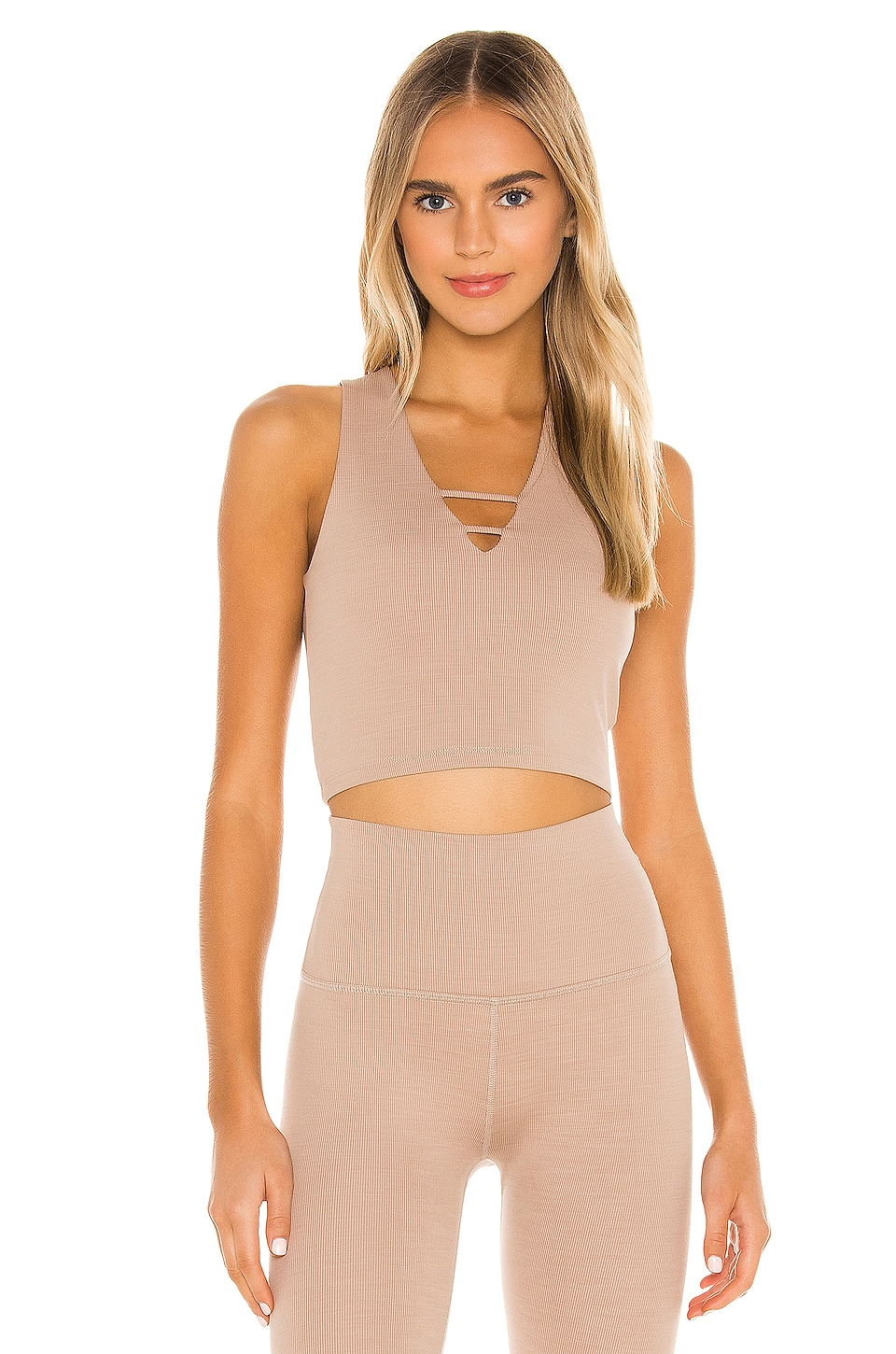 Beyond Yoga Heather Rib Cropped Tank in Desert Suede Heather
