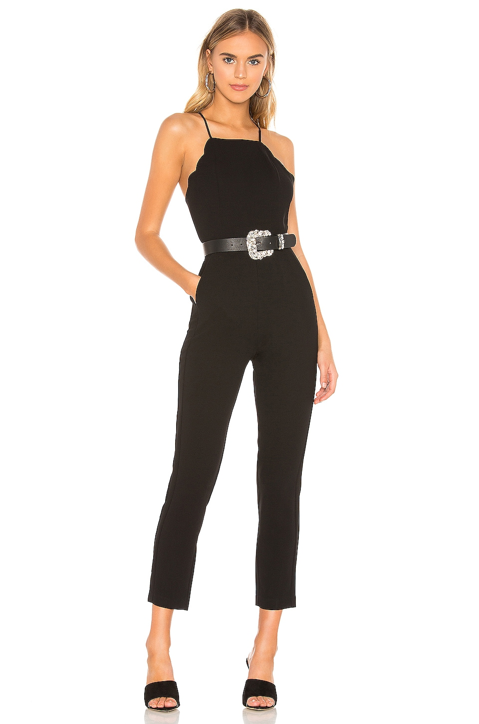 BCBGeneration Scalloped Ankle Jumpsuit in Black