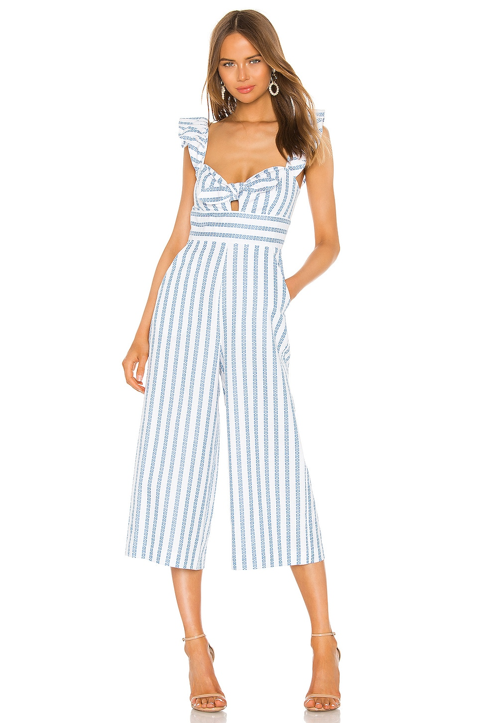 BCBGeneration Ruffle Sleeve Jumpsuit in Sky Blue