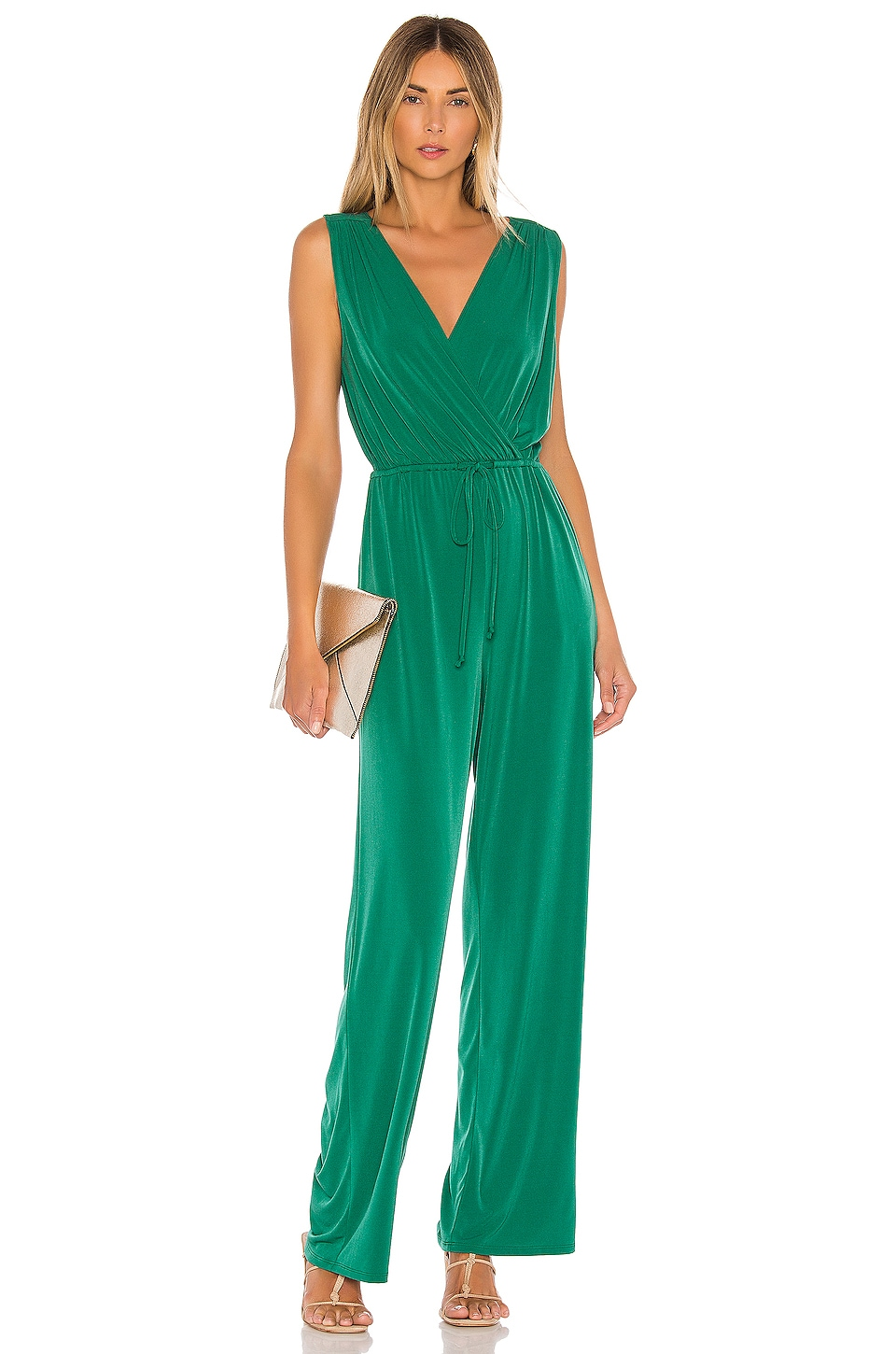 BCBGeneration Open Back Jumpsuit in Pine Green