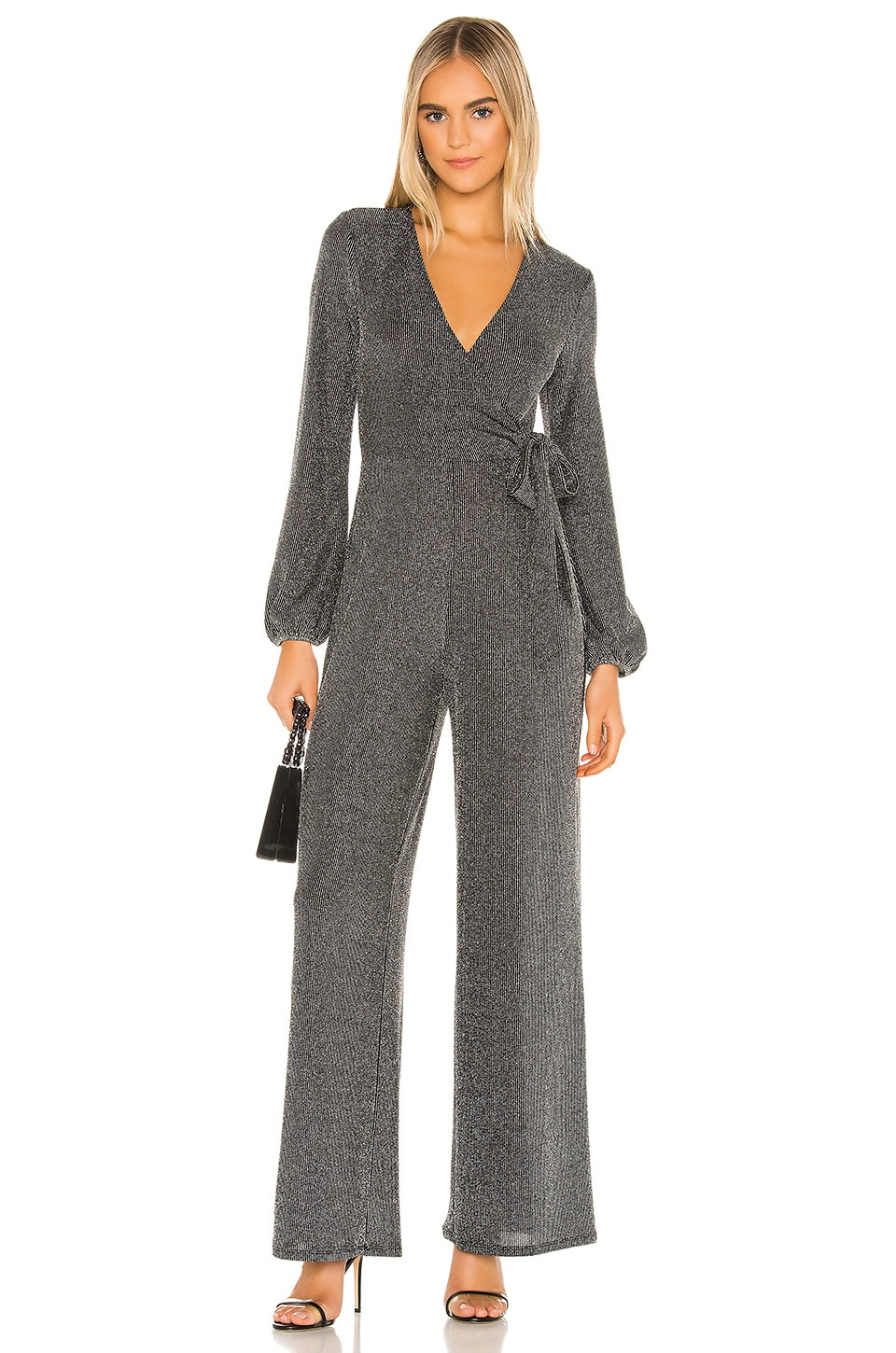 BCBGeneration Wrap Tied Knit Jumpsuit in Black