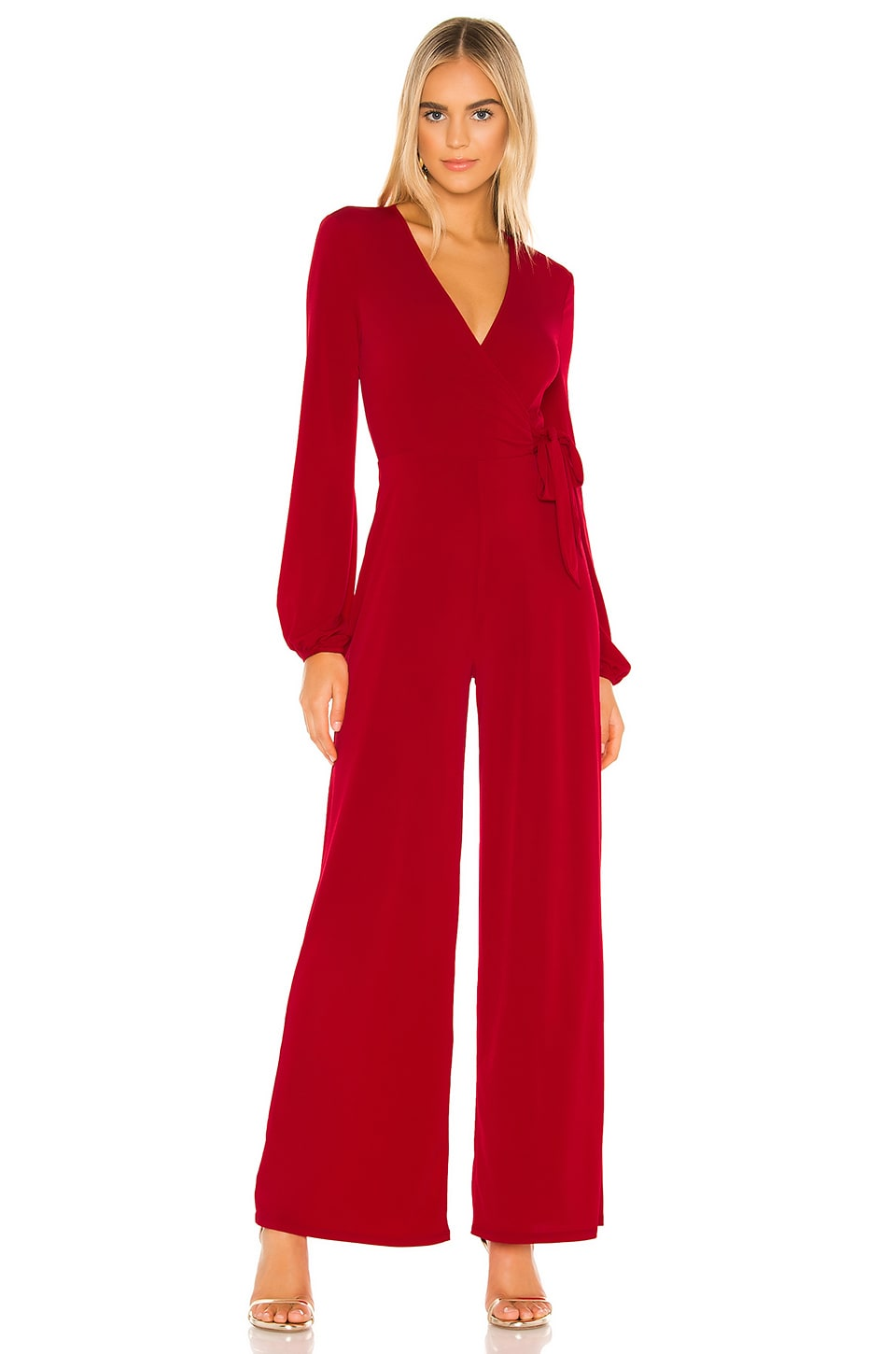 BCBGeneration Wrap Tied Knit Jumpsuit in Ruby Red