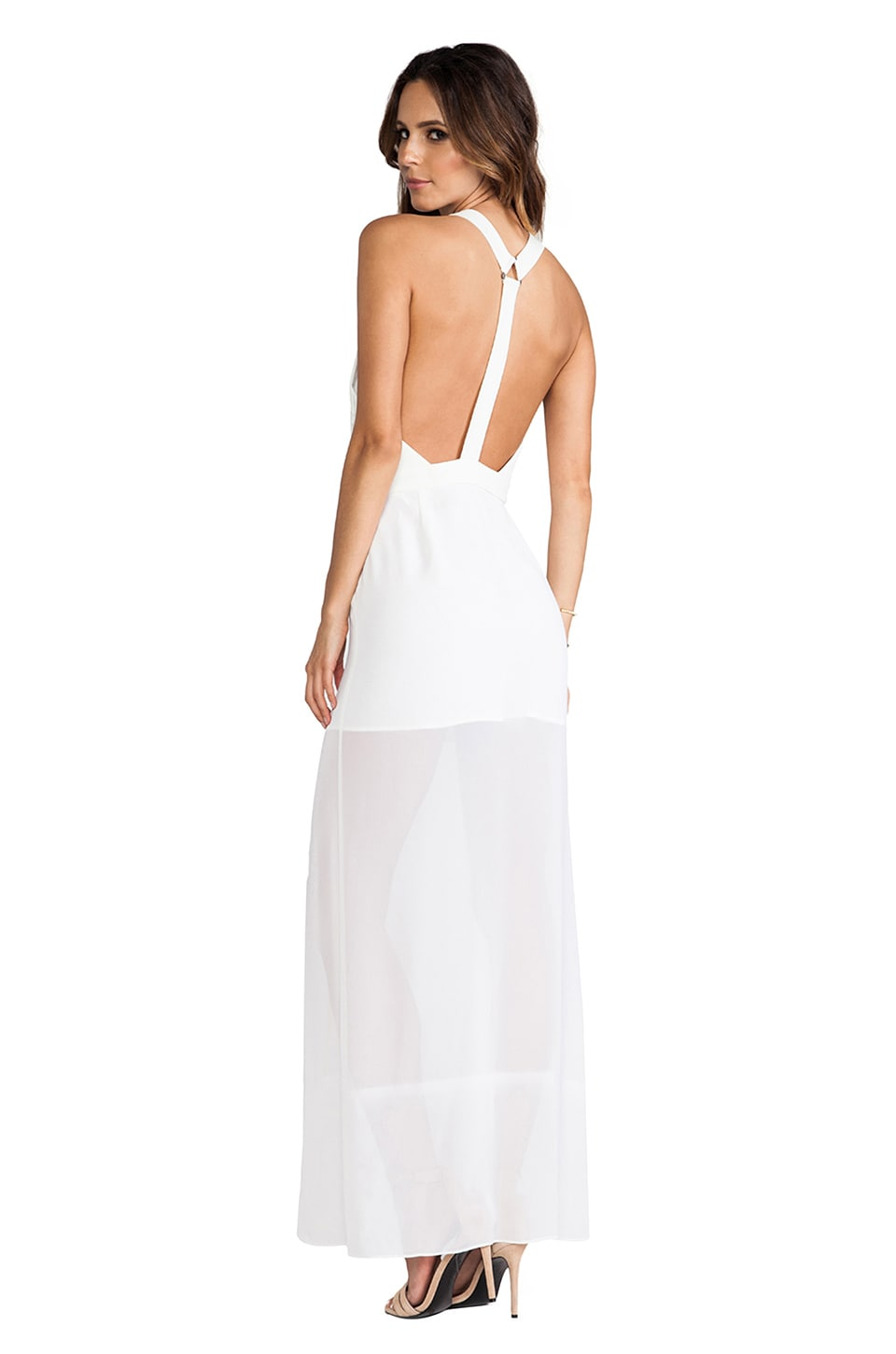 BCBGeneration Y Back Princess Slit Gown in White Ink