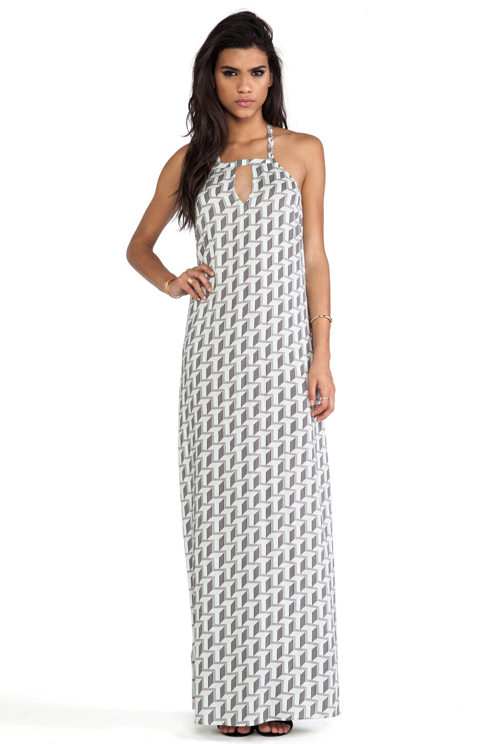 BCBGeneration Strappy Maxi Dress in Mink Multi