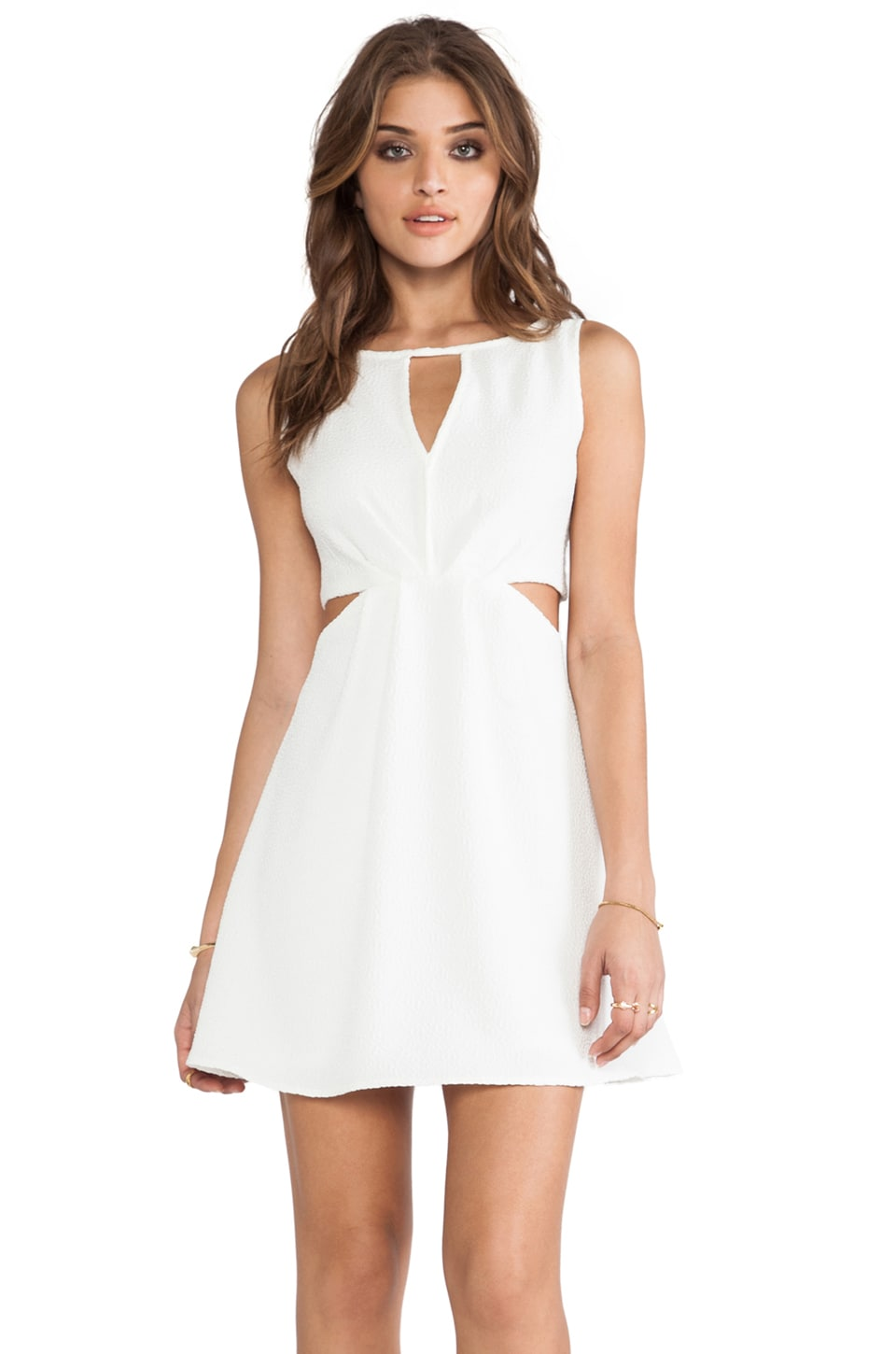 BCBGeneration Double Strap Exposed Flare Dress in Off White