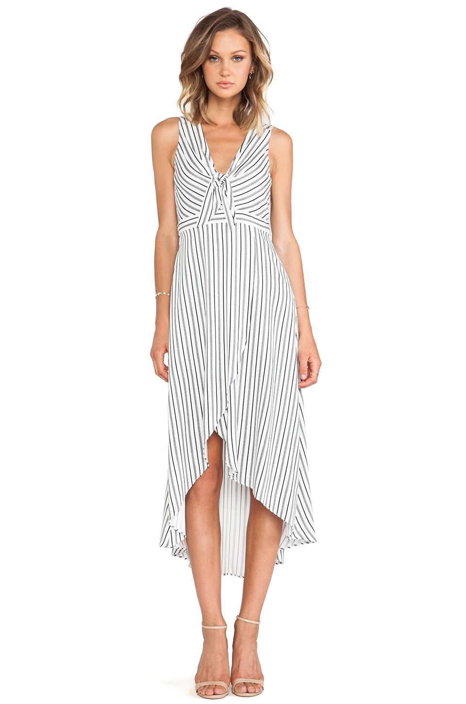 BCBGeneration Striped Wrap Maxi Dress in Off White Combo