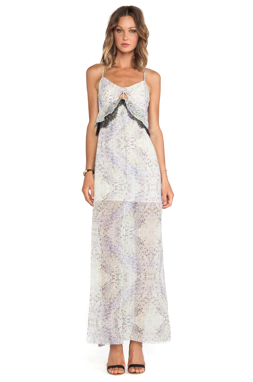 BCBGeneration Ruffle Printed Maxi Dress in Cotton Candy Multi