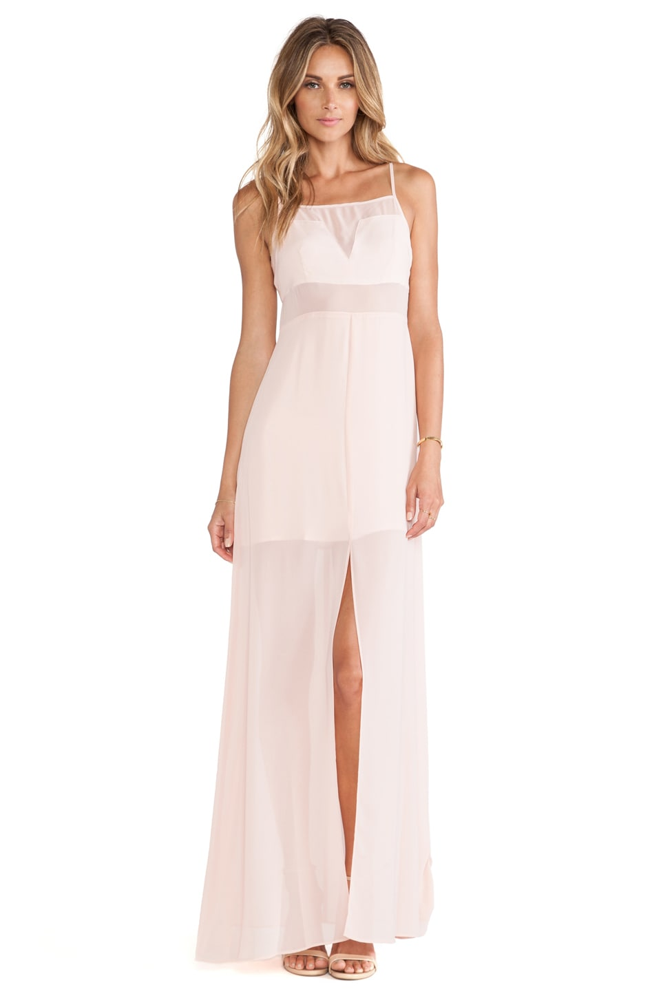 BCBGeneration Chiffon Cut Out Maxi Dress in Rose Smoke