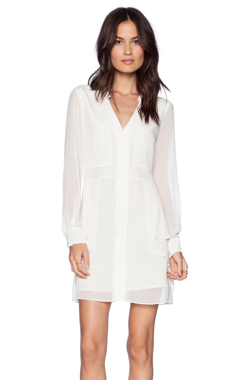 BCBGeneration Flounce Front Dress in Whisper White